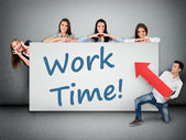 Work time word on banner — Stock Photo