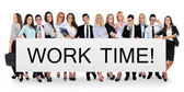 Work time word on banner — Stockfoto
