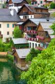 Guest houses view from Hallstatt village — Stock Photo