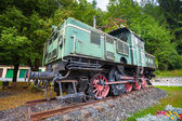 Old vintage green electric locomotive — Stock Photo