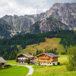 Beautiful typical mountain guests houses on austrian alps — Stock Photo #55968777