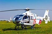 TV news helicopter on a blue sky — Stock Photo