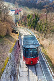 Funicular climbing to Schlossberg and Graz city panoramic view — Stock Photo