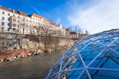 Graz city seen from Island on Mur river connected by a modern st — Stock Photo