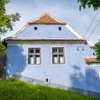 Blue painted traditional house from Viscri village in Transylvan — Stock Photo #73895733