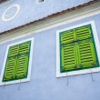 Blue painted traditional house with green shutters from Viscri v — Stock Photo #73895783