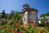Cozia monastery church with red flowers on a sunny summer day — Stock Photo