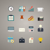Vector flat business and office icons set — Stock Vector