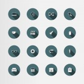 16 office flat icons set, vector — Stock Vector