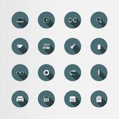 16 office flat icons set, vector — Stok Vektör