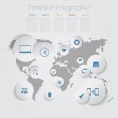 Retro Timeline Infographic, Vector design template — Vettoriale Stock