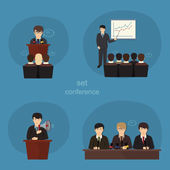 Business concept flat icons set of meeting partnership planning conference infographic design element — Stock Vector