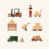 Warehouse transportation and delivery icons flat set isolated vector — Stock Vector