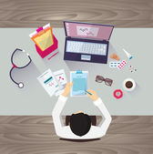 Doctor workplace, vector illustration. Male person in doctor's smock sitting at the table — Stockvektor