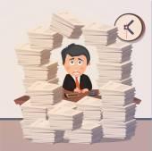 Hard working evening in office. Vector — Stock Vector