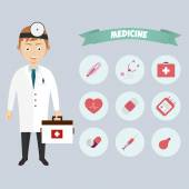 Smiling happy male doctor with glasses surrounded by medical icons, vector — Vector de stock