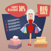 Girl or woman on shopping sale holding bags. Retro style — Stock Vector