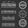 Retro Vintage Insignias or Logotypes set of streetracing. Vector design elements, business signs, logos, identity, labels, badges and objects. Illustration — Stock Vector #69233473
