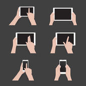 Vector set of commonly used multi-touch gestures for tablets or smartphone. Black tablet, smartphone, touch screen. Duo tone icons — Stock Vector