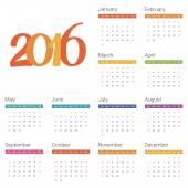 Calendar for 2016 on white background. Vector — Stock Vector