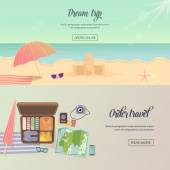 Summer holidays, beach labels, umbrella and castle illustration — Stock Vector