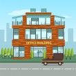 Постер, плакат: Modern office building in cartoon flat style