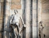 Statue on the milan cathedral — Stock Photo