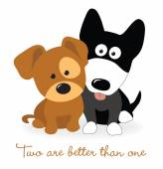 Best friends - two puppies — Stock Vector