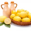 Fresh lemons in wooden tray — Stock Photo #58286627