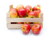 Ripe apples in wooden carte — Stock Photo