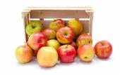 Ripe apples in wooden crate — Stock Photo