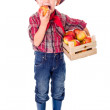 Little farmer boy tasting fresh apple — Stock Photo #58814739