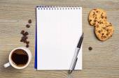 Notebook e caffè — Foto Stock
