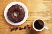 Coffee and chocolate donut — Foto de Stock
