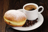 Berliner donut with coffee — Zdjęcie stockowe
