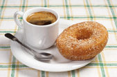 Breakfast with donut and coffee — Stock Photo