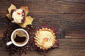 Two cakes and coffee cup — Stock fotografie