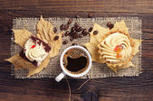 Two cakes and hot coffee — Foto de Stock