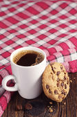 Cookie with chocolate and coffee — Stock Photo