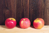 Three red apples — Stock Photo