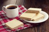Wafers and coffee cup — Stock Photo