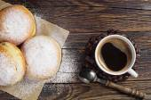 Sweet donuts and coffee cup on table — Foto de Stock