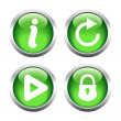 Set of buttons for web, information, play, reload, closed lock. — Stock Vector #64781187