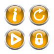 Set of buttons for web, information, play, reload, closed lock. — Stock Vector #64781341
