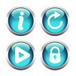 Set of buttons for web, information, play, reload, closed lock. — Stock Vector #64781357