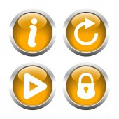 Set of buttons for web, information, play, reload, closed lock. — Stock Vector