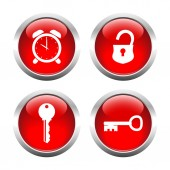Set of buttons for web, rklyuchi, padlock, watch. — Stock Vector