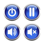 Set of buttons for web, audio, power, pause. — Stock Vector