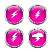 Set of buttons for web, lightning, Electricity, storm. — Stok Vektör