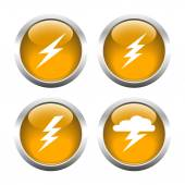 Set of buttons for web, lightning, Electricity, storm. — Stock Vector